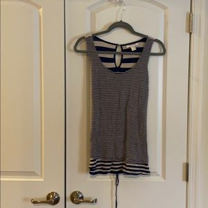 Blue and white striped maternity tank top